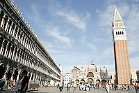 Una veduta di Piazza San Marco con la Basilica omonima e il campanile, a Venezia.<br /> A view of St. Mark's Square, with the homonymous Patriarchal Cathedral Basilica and belltower, in Venice.<br /> UPDATE IMAGES PRESS/Riccardo De Luca