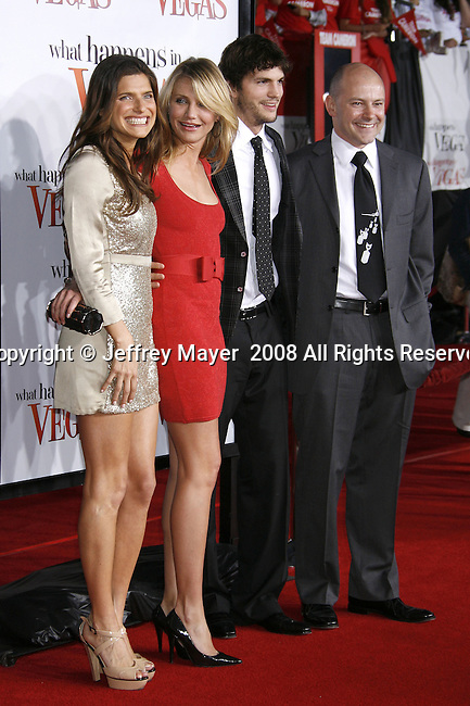 "Actress Lake Bell and actress Cameron Diaz, actor Ashton Kutcher and actor Rob Corddry arrive at the Premiere Of Fox's ""What Happens In Vegas"" on May 1, 2008 at the Mann Village Theatre in Los Angeles, California."