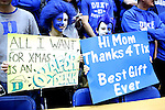 29 December 2014: Duke fans. The Duke University Blue Devils hosted the University of Toledo Rockets at Cameron Indoor Stadium in Durham, North Carolina in a 2014-16 NCAA Men's Basketball Division I game. Duke won the game 86-69.