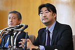 (L-R) Kiichiro Matsumaru, Yoshihisa Hayakawa, SEPTEMBER 1, 2016 : Japanese Olympic Committee's independent panel commission releases the research report of suspicious payment made to Black Tidings a Singapore-based firm, in Tokyo, Japan. The report said there had found nothing illegal in a payment made to Black Tidings, prior to Tokyo winning the host of the 2020 Summer Games. (Photo by Sho Tamura/AFLO SPORT)