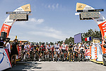 The peleton lined up for the start of Stage 1 of the 2018 Tour de France running 201km from Noirmoutier-en-l&rsquo;&Icirc;le to Fontenay-le-Comte, France. 7th July 2018. <br /> Picture: ASO/Pauline Ballet | Cyclefile<br /> All photos usage must carry mandatory copyright credit (&copy; Cyclefile | ASO/Pauline Ballet)