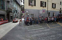 Tim Wellens (BEL/Lotto-Soudal) is the very last rider (after a mechanical?) to turn into the last ascent of the very steep (20%) cobbled Via Principi d'Acaja<br /> <br /> stage 18: Muggio - Pinerolo (240km)<br /> 99th Giro d'Italia 2016