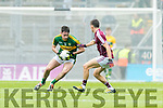 Daniel O'Brien Kerry in action against Finian Ó Laoi  Galway in the All Ireland Minor Football Final in Croke Park on Sunday.