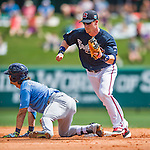 14 March 2016: Atlanta Braves infielder Gordon Beckham in action during a Spring Training pre-season game against the Tampa Bay Rays at Champion Stadium in the ESPN Wide World of Sports Complex in Kissimmee, Florida. The Braves shut out the Rays 5-0 in Grapefruit League play. Mandatory Credit: Ed Wolfstein Photo *** RAW (NEF) Image File Available ***