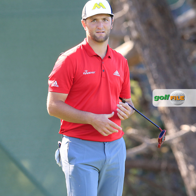 Jon Rahm (ESP) on the 5th green at Pebble Beach Golf Links during Sunday's Final Round 4 of the 2017 AT&amp;T Pebble Beach Pro-Am held over 3 courses, Pebble Beach, Spyglass Hill and Monterey Penninsula Country Club, Monterey, California, USA. 12th February 2017.<br /> Picture: Eoin Clarke   Golffile<br /> <br /> <br /> All photos usage must carry mandatory copyright credit (&copy; Golffile   Eoin Clarke)