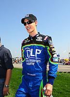 Sept. 28, 2008; Kansas City, KS, USA; Nascar Sprint Cup Series driver Joey Logano prior to the Camping World RV 400 at Kansas Speedway. Mandatory Credit: Mark J. Rebilas-
