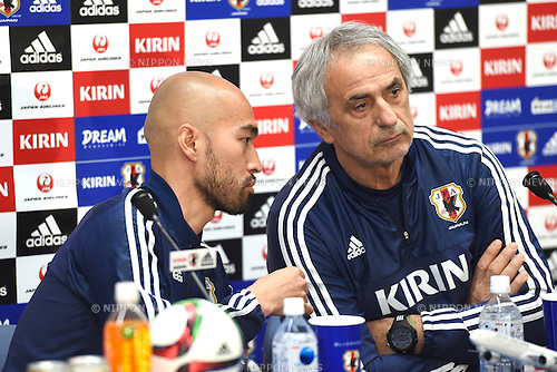 (L-R)  Gun Hiwatashi,   Vahid Halilhodzic (JPN), <br /> MARCH 30, 2015 - Football / Soccer : <br /> Japan training session <br /> at Tokyo Stadium in Tokyo, Japan. <br /> (Photo by AFLO SPORT)
