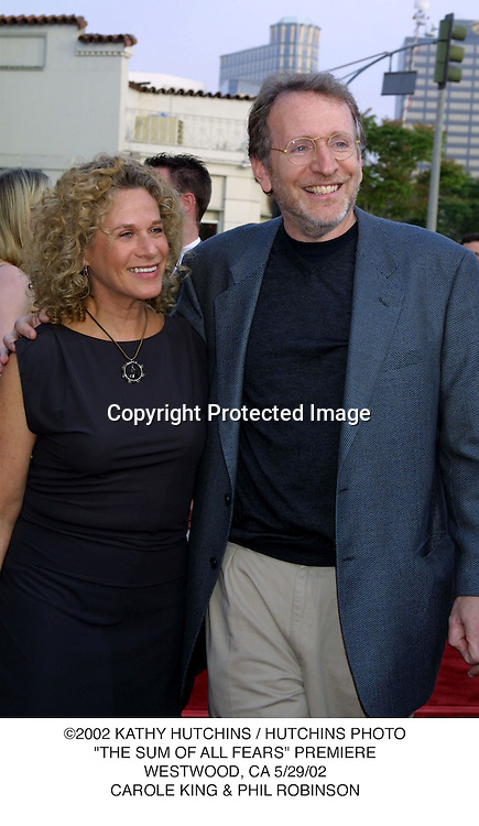 "©2002 KATHY HUTCHINS / HUTCHINS PHOTO.""THE SUM OF ALL FEARS"" PREMIERE.WESTWOOD, CA 5/29/02.CAROLE KING & PHIL ROBINSON"
