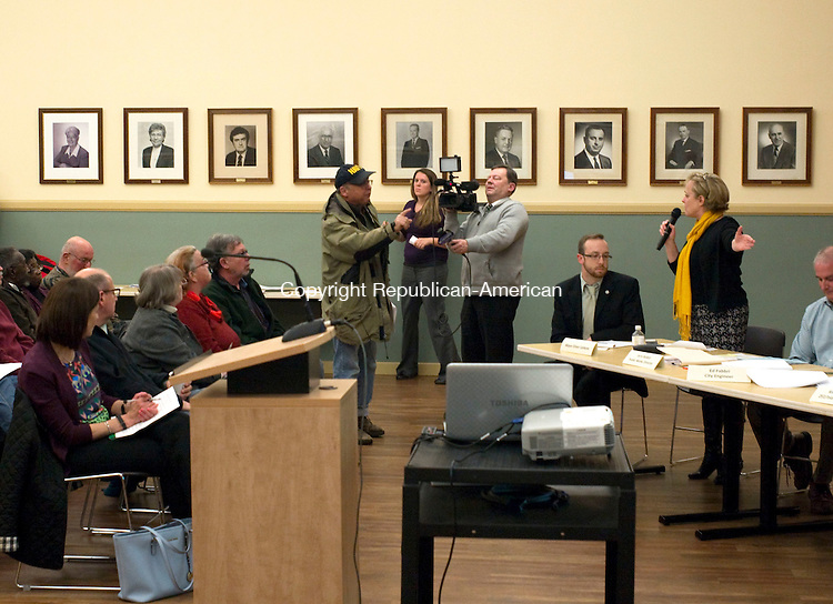 Torrington, CT- 12 January 2016-011216CM07- George Sabolcik voices his concerns to Torrington Mayor Elinor C. Carbone inside the City Hall on Tuesday. Carbone hosted an informational meeting with city officials so that residents can ask questions regarding the city's streetlight master plan.  Sabolcik opposed the plan.  Christopher Massa Republican-American