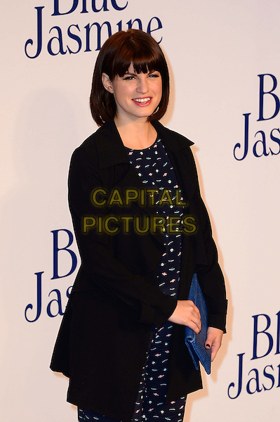 Jemima Rooper<br /> UK Premiere of 'Blue Jasmine' at the Odeon West End, Leicester Square. London, England.<br /> 17th September 2013<br /> half length black jacket blue pattern jumpsuit clutch bag<br /> CAP/BF<br /> &copy;Bob Fidgeon/Capital Pictures