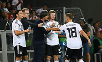 Nico Schulz (Deutschland Germany), Joshua Kimmich (Deutschland, Germany) und Bundestrainer Joachim Loew (Deutschland Germany) mit Timo Werner (Deutschland Germany) - 09.09.2018: Deutschland vs. Peru, Wirsol Arena Sinsheim, Freundschaftsspiel DISCLAIMER: DFB regulations prohibit any use of photographs as image sequences and/or quasi-video.