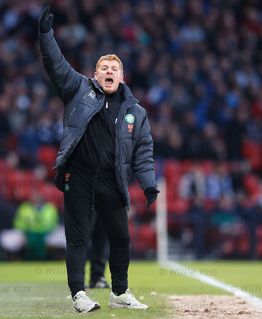 Neil Lennon jumping around on the touchline