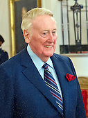 Broadcaster Vin Scully arrives to accept Presidential Medal of Freedom, the Nation's highest civilian honor, from United States President Barack Obama in the East Room of the White House in Washington, DC on November 22, 2016.<br /> Credit: Ron Sachs / CNP