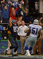 Oct 23, 2005; Seattle, Wash, USA;  Seattle Seahawks tight end #83 Ryan Hannam clebrates his touchdown with 40 seconds remaining in the game against the Dallas Cowboys at Qwest Field. Mandatory Credit: Photo By Mark J. Rebilas
