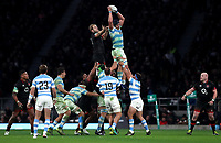 Argentina's Tomas Lavanini retrieve a ball in a line out<br /> <br /> Photographer Rachel Holborn/CameraSport<br /> <br /> International Rugby Union Friendly - Old Mutual Wealth Series Autumn Internationals 2017 - England v Argentina - Saturday 11th November 2017 - Twickenham Stadium - London<br /> <br /> World Copyright &copy; 2017 CameraSport. All rights reserved. 43 Linden Ave. Countesthorpe. Leicester. England. LE8 5PG - Tel: +44 (0) 116 277 4147 - admin@camerasport.com - www.camerasport.com