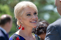 Counselor to the President Trump, Kellyanne Conway,  speaks with guests after a National Day of Prayer event in the Rose Garden at the White House in Washington, DC on May 3, 2018. Credit: Alex Edelman / CNP /MediaPunch