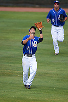Biloxi Shuckers second baseman Nick Shaw (1) catches a pop up during a game against the Birmingham Barons on May 24, 2015 at Joe Davis Stadium in Huntsville, Alabama.  Birmingham defeated Biloxi 6-4 as the Shuckers are playing all games on the road, or neutral sites like their former home in Huntsville, until the teams new stadium is completed in early June.  (Mike Janes/Four Seam Images)
