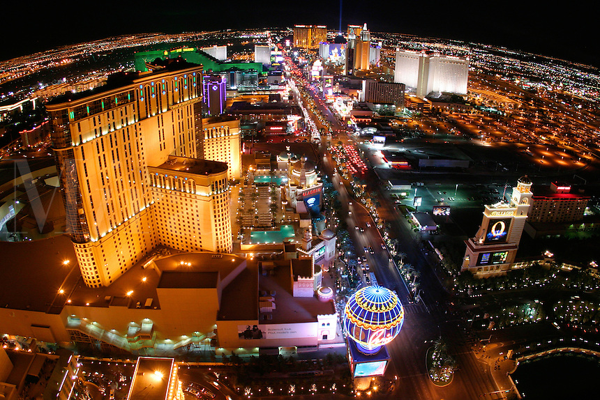 View looking down The Strip at night, Las Vegas, Clark County, N