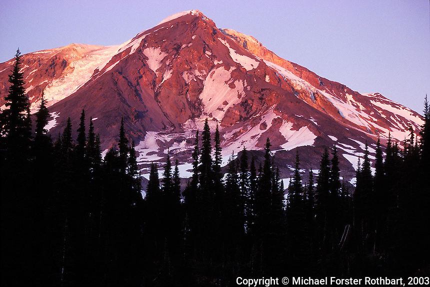 The snow-capped peak of Mt. Adams in Washington is lit with alpenglow shortly before sunset, as seen from along the Pacific Crest Trail midway up the mountain. <br /> <br /> &copy; Michael Forster Rothbart<br /> www.mfrphoto.com <br /> 607-267-4893 o 607-432-5984<br /> 5 Draper St, Oneonta, NY 13820<br /> 86 Three Mile Pond Rd, Vassalboro, ME 04989<br /> info@mfrphoto.com<br /> Photo by: Michael Forster Rothbart<br /> Date: 8/2003    File#:  color slide<br /> ----------<br /> Original caption:<br /> During July and August 2003, Mike and Amy Forster Rothbart hiked from Mt. Adams to near Mt. Rainier, backpacking on the Pacific Crest Trail in Washington State. Here, the bare top of Mt. Adams is lit with alpenglow shortly before sunset.