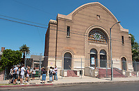 "Food conference attendees tour the Congregation Talmud Torah, more commonly known as the Breed Street Shul, as part of the Mexican food tour of Boyle Heights. The Breed Street Shul was a keystone in the Jewish community in Boyle Heights and nearby City Terrace from the 1920s through the 1950s.<br /> Occidental College hosts the Oxy Food Conference, an annual meeting and conference for the Agriculture, Food and Human Values Society (AFHVS)/Association for the Study of Food and Society (ASFS). The event ran from June 14-17, 2017 and was organized by Oxy associate professor of sociology John Lang. This was the first time Oxy hosted this conference.<br /> More than 500 food scholars converged for one of the discipline's largest international conferences and the chance to discuss everything from sustainable agricultural and fisheries practices to the cultural significance of Basque-American ""picon punch.""<br /> (Photo by Marc Campos, Occidental College Photographer)"