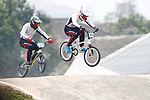 (L to R) <br /> Jukia Yoshimura, <br /> Yoshitaku Nagasako (JPN), <br /> AUGUST 25, 2018 - Cycling - BMX : <br /> Men's BMX Race Final <br /> at Pulo Mas International BMX Center <br /> during the 2018 Jakarta Palembang Asian Games <br /> in Jakarta, Indonesia. <br /> (Photo by Naoki Morita/AFLO SPORT)