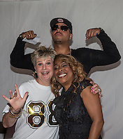 Snap! pose for a photo with Hazell Dean during Rewind South, The 80s Festival, at Temple Island Meadows, Henley-on-Thames, England on 20 August 2016. Photo by David Horn.
