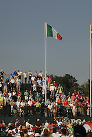 Raising the Irish Flag during the opening ceremony on Practice Day2 of the Ryder Cup at Valhalla Golf Club, Louisville, Kentucky, USA, 18th September 2008 (Photo by Eoin Clarke/GOLFFILE)