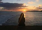 Scence on Magic Island looking back to Diamond Head and Waikiki Beach, Honolulu, HI.