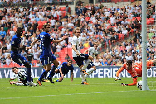 20th August 2017, Wembley Stadium, London, England; EPL Premier League football, Tottenham Hotspur versus Chelsea; Harry Kane of Tottenham Hotspur shot hits the post and rebounds to safety