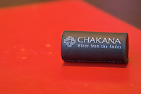 A black plastic synthetic cork from the Chakana Bodega winery in Mendoza on the menu of the red restaurant. wines from the Andes. The Restaurant Red at the Hotel Madero Sofitel in Puerto Madero, Buenos Aires Argentina, South America