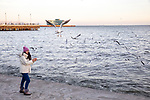 Girl Playing Amist Gulls