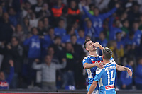 Arkadiusz Milik of Napoli celebrates with Dries Mertens of Napoli<br /> Napoli 30-10-2019 Stadio San Paolo <br /> Football Serie A 2019/2020 <br /> SSC Napoli - Atalanta BC<br /> Photo Cesare Purini / Insidefoto