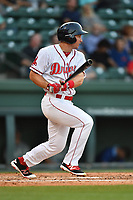 First baseman Mitchell Gunsolus (22) of the Greenville Drive bats in a game against the Lexington Legends on Wednesday, April 12, 2017, at Fluor Field at the West End in Greenville, South Carolina. Greenville won, 4-1. (Tom Priddy/Four Seam Images)