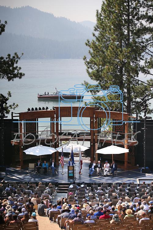 U.S. Sen. Lisa Murkowski, R-Alaska, speaks at the 22nd annual Lake Tahoe Summit, at Sand Harbor State Park, near Incline Village, Nev., on Tuesday, Aug. 7, 2018. <br /> Photo by Cathleen Allison/Nevada Momentum