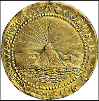 BNPS.co.uk (01202 558833)<br /> Pic: Heritage/BNPS<br /> <br /> ***Please use full byline***<br /> <br /> The first ever gold coin to be struck in the US more than 225 years ago has sold for almost three million pounds.<br /> <br /> The gold doubloon was struck in 1787 and was the fledgling country's first ever coin intended for circulation in its emerging colonies.<br /> <br /> Prior to its launch, settlers used foreign copper and silver coins they had brought with them or coins they had forged themselves.<br /> <br /> But only a handful of the gold doubloons were ever made and just seven exist worldwide today.<br /> <br /> The coin sold to a private collector for $4.5 million - around &pound;2.8 million - when it went under the hammer.