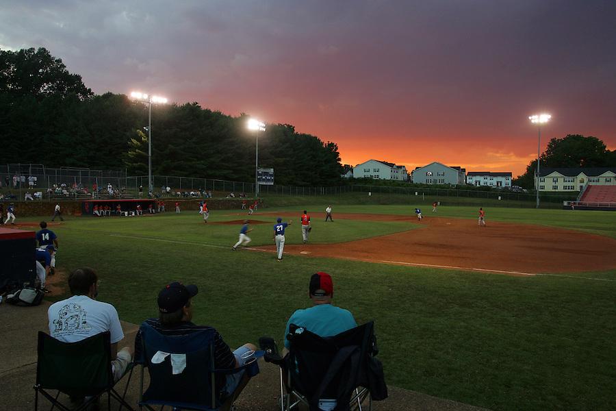 High school baseball game.