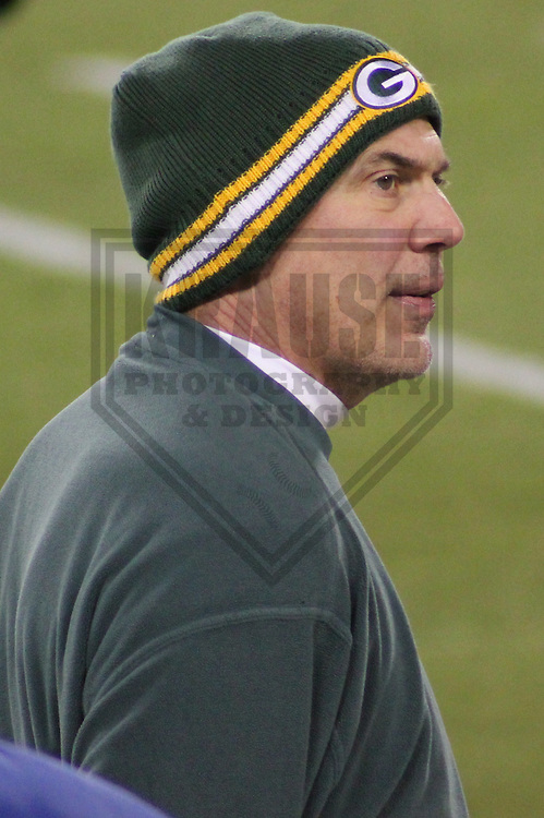 GREEN BAY - DECEMBER 2011:  Tom Clements, Quarterbacks Coach of the Green Bay Packers during a game on December 25, 2011 at Lambeau Field in Green Bay, Wisconsin. (Photo by Brad Krause)