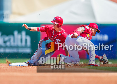 6 March 2016: Washington Nationals infielder Trea Turner steals second base in the first inning of a Spring Training pre-season game against the St. Louis Cardinals at Roger Dean Stadium in Jupiter, Florida. The Nationals defeated the Cardinals 5-2 in Grapefruit League play. Mandatory Credit: Ed Wolfstein Photo *** RAW (NEF) Image File Available ***