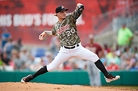 Arkansas Travelers starting pitcher Dylan Unsworth (20) delivers a pitch during a game against the Frisco RoughRiders on May 28, 2017 at Dickey-Stephens Park in Little Rock, Arkansas.  Arkansas defeated Frisco 17-3.  (Mike Janes/Four Seam Images)