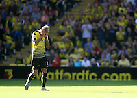 Valon Behrami of Watford iss send off after receiving red card   during the Barclays Premier League match Watford and Swansea   played at Vicarage Road Stadium , Watford