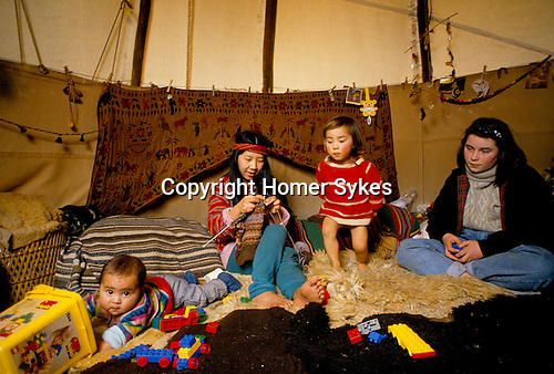 TeePee Valley near Llandeilo Wales.  in their Tepee.  1980s British Society.<br />