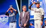 Kim Kyeong-Mun, Lee Jong-wook and Lee Jae-Hak, Mar 28, 2016 : South Korean baseball team NC Dinos' manager Kim Kyeong-Mun (C), outfielder Lee Jong-wook (L) and starting pitcher Lee Jae-Hak pose during a media day and fanfest of 10 clubs in the Korea Baseball Organization (KBO) in Seoul, South Korea. (Photo by Lee Jae-Won/AFLO) (SOUTH KOREA)