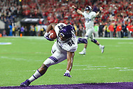 Indianapolis, IN - December 1, 2018: Northwestern Wildcats wide receiver Cameron Green (84) scores a touchdown during the Big Ten championship game between Northwestern  and Ohio State at Lucas Oil Stadium in Indianapolis, IN.   (Photo by Elliott Brown/Media Images International)