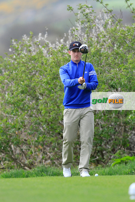 Dale Jackson (Hilton Templepatrick) on the 15th tee during Day 1 of The Munster Youths' Amateur Open Championship in Dungarvan Golf Club on Wednesday 23nd April 2014.<br /> Picture:  Thos Caffrey / www.golffile.ie