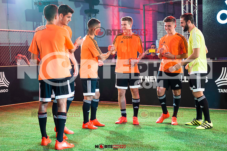 """Real Madrid players Alvaro Morata, Lucas Vazquez and Nacho Fernandez during the presentation of the new pack of Adidas football shoes """"Speed of Light"""" in Madrid. September 16, 2016. (ALTERPHOTOS/Borja B.Hojas) /NORTEPHOTO"""