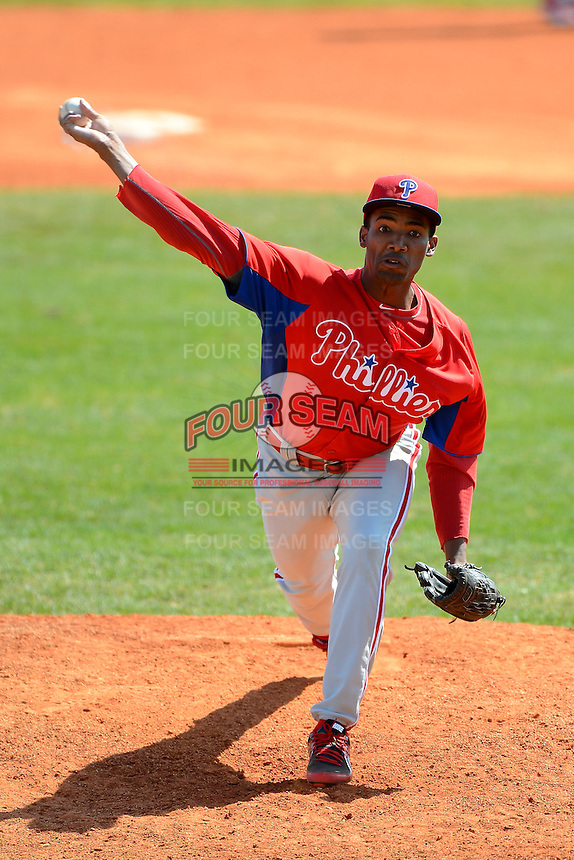 Philadelphia Phillies pitcher Felix Santos (64) during a minor league Spring Training game against the Atlanta Braves at Al Lang Field on March 14, 2013 in St. Petersburg, Florida.  (Mike Janes/Four Seam Images)