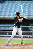 John Woodman #12 of Edgewater High School in Orlando, Florida playing for the Colorado Rockies scout team during the East Coast Pro Showcase at Alliance Bank Stadium on August 1, 2012 in Syracuse, New York.  (Mike Janes/Four Seam Images)