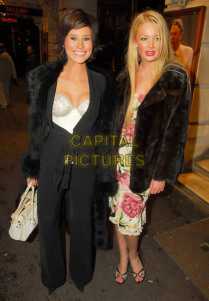 JASMINE LENNARD & GUEST.One Flew Over The Cuckoo's Nest Press Night Party,.Browns, St. Martin's Lane, London, England, .March 28th 2006..full length white top bag black coat.Ref: SW.www.capitalpictures.com.sales@capitalpictures.com.©Stephen Walters/Capital Pictures.