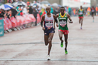 Mo Farah of Great Britain beats off the challenge of Abayneh Ayele of Eritrea to finish third in the IAAF World Half Marathon Championships 2016 in Cardiff, Wales on 26 March 2016. Photo by Mark  Hawkins / PRiME Media Images.