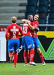 Solna 2013-09-30 Fotboll Allsvenskan AIK - &Ouml;sters IF :  <br /> &Ouml;ster 23 Alhaji Gero  gratuleras av &Ouml;ster 16 Vlado Zlojutro och &Ouml;ster 5 Stefan Karlsson efter sitt 1-1 m&aring;l<br /> (Foto: Kenta J&ouml;nsson) Nyckelord:  jubel gl&auml;dje lycka glad happy